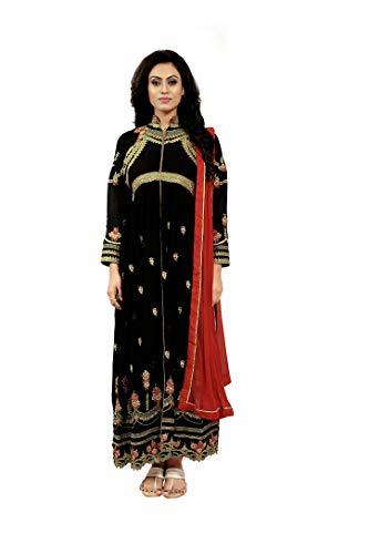 Amiira Women's Black Georgette Anarkali Gown
