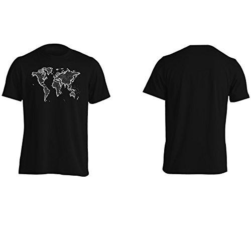 Mappa del mondo usa china europe britain Uomo T-shirt e304m Black
