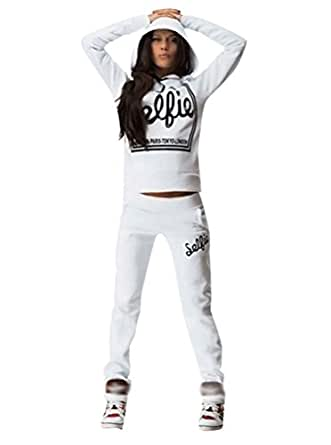 Baymate Donna 2 Pezzi Casual Tuta Pullover Felpa con Cappuccio Pantaloni Sportivo Bianco S