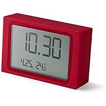 Lexon Slide Clock - Despertador plástico ABS y goma, 8,5x2,2x5,5cm, plástico, rojo, 8.5 x 2.2 x 5.5 cm