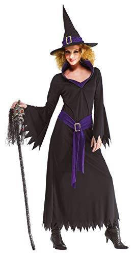 Foxxeo lila schwarzes Hexen Kostüm mit Hexenhut für Damen Fasching Karneval Halloween Größe - Gute Kostüm Für Übergröße