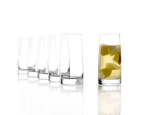 Stölzle Lausitz Highball Becher/Wassergläser, 361ml, 6er Set, spülmaschinenfest: Schlichte, formschöne Longdrinkgläser aus bruchsicherem, hochwertigem Kristallglas
