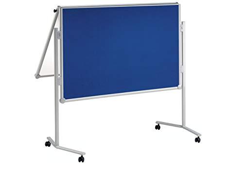 Maul Professionelle Moderationstafel 150 x 120cm, 1 Seite Whiteboard magnethaftend und beschreibbar Weiß, 1 Seite Pinntafel Textilboard, Blau, 6380782, 1 Stück