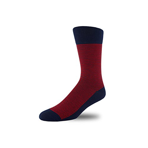 Image of STÓR Men's Socks Bamboo Antibacterial Designer Calf Socks Breathable Soft Socks Active Antifungal, Mini Stripe (Large (43-46EU / 9-12UK), Red/Navy)
