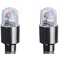 Koly 2pcs LED Tapa de la válvula de neumáticos Neon Light Accesorios para automóviles Bike Auto para Bicicleta para radios de alambre de neumáticos válvula de neumático LED luz de neón (Plata B)