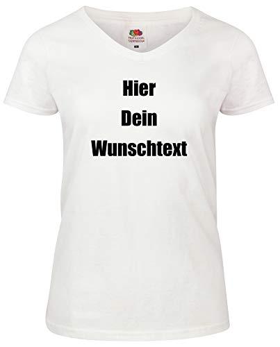 Damen T-Shirt V-Auschnitt Bedrucken mit dem Amazon Tshirt Designer. T-Shirt selber gestalten. T-Shirt Druck. T-Shirt mit Wunschtext. T Shirts sind Ökotex-100 Zertifiziert. Weiss XL