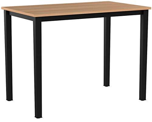 sogesfurniture Schreibtisch Computertisch Büromöbel PC Tisch, Stabil Bürotisch Arbeitstisch Esstisch aus Holz und Stahl, Einfache Montage, 100x60x75cm, Teak & Schwarz AC3TB-100-SF