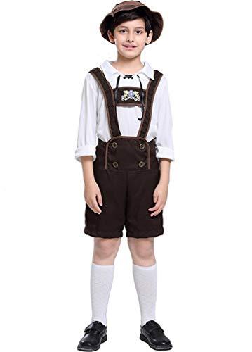 ACMEDE Oktoberfest Kostüm Kinder Jungen Trachtenhose Kniebundhose Trachtenhemd kurz Set für Kinder Jungen Trägerhose Set Karneval Fasching Bierfest Oktoberfest Trachten Kostüm