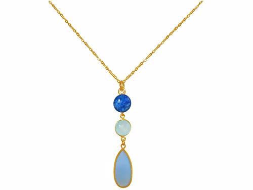 GEMSHINE Halskette mit Chalcedon Edelsteinen und blauem Lapis Lazuli. 60 cm lange Kette aus 925 Silber, vergoldet, rose. Qualitätsvoller Schmuck Made in Germany, Metall Farbe:Silber vergoldet