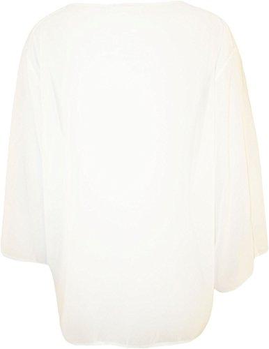 WearAll - Plus Taille 3/4 manches Kimono Cardigan Haut - Cardigans - Femmes - 44 à 54 Crème