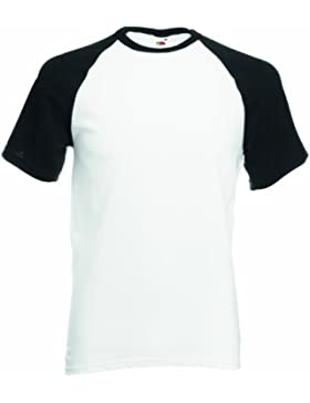 Fruit of the Loom camisa de manga Contraste béisbol S/T para hombre blanco/negro