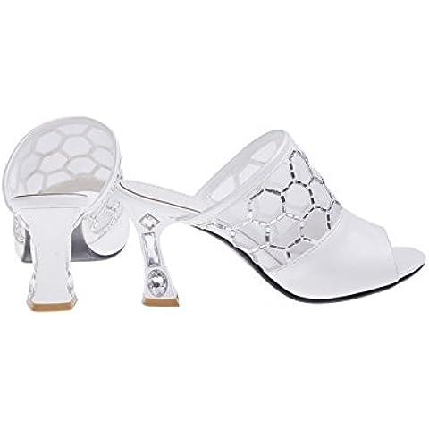 versione estiva coreana dei sandali e ciabatte tacco alto/Moda diamante sandali signora cava
