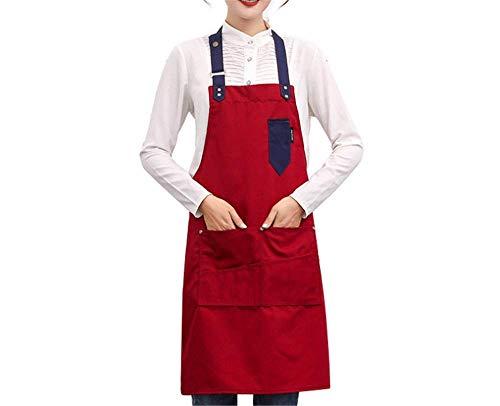 -Pocket-Leinwand Hängen Hals Schürze Supermarkt Convenience-Store Café Restaurant Overalls Taille Rot ()