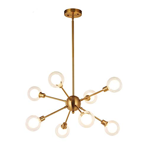 CHTG Moderne Sputnik Kronleuchter Beleuchtung G9 40W (inkl. Leuchtmittel) 6 Lichter Gebürstetem Messing Semi Flush Mount Deckenleuchte Mid Century Glas Pendelleuchte (Brushed Brass -8) -