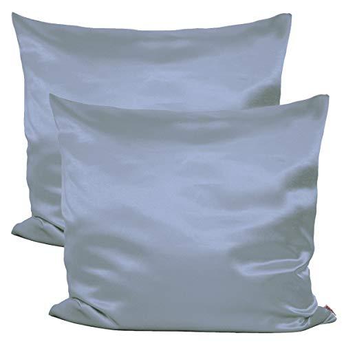 beties Paket mit 2 x Glanz Satin Kissenbezug 80x80 cm anschmiegsam & edel 100% Polyester in 4 Größen (Silber grau)