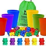 Gleeporte Bunte Zählen Bären mit Koordinierte Sorting Cups Montessori Sortierung und Zählung Toy Educational für Kleinkinder und Kinder (67 PC-Set) 60 Bären 6 Tassen Aufbewahrungstasche