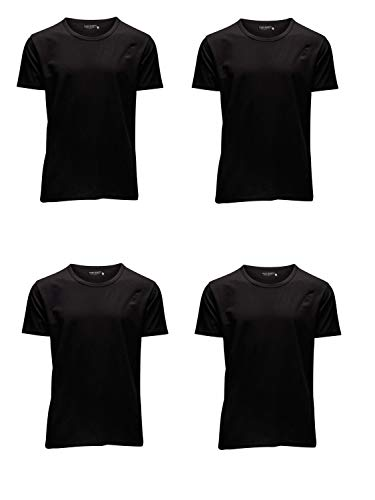 JACK & JONES Herren T-Shirt Basic 4er PACK O-Neck V-Neck Tee S M L XL XXL (M, 4er O-NECK schwarz) -