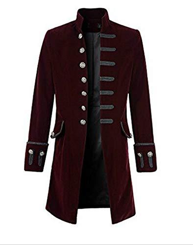 Pxmoda Herren Frack Steampunk Gothic Jacke Vintage Viktorianischen Langer Mantel Kostüm Cosplay Kostüm Smoking Jacke Uniform (L, B-Weinrot)