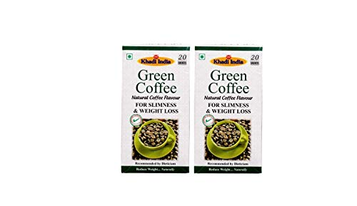 Khadi India Green Coffee Extract for Slimness and Weight Loss – 20 sachets(2 gm Each)-Natural Flavor-Pack of 2