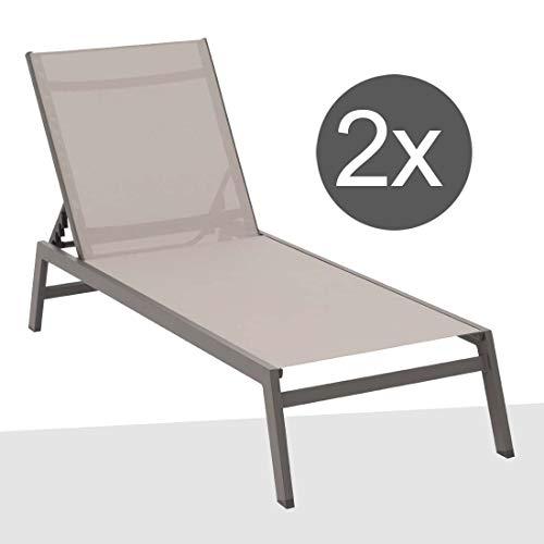 B-Ware - OUTLIV. Premium Sonnenliege Alu-Liege 2er-Set Cres Gartenliege verstellbar Aluminium/Textil Anthrazit/Silber Terrassenliege Balkonliege wetterfest