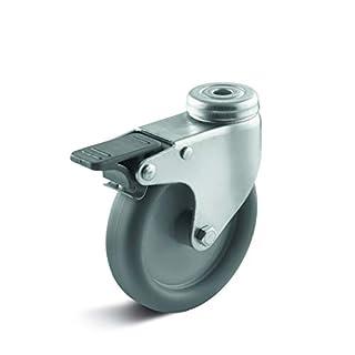 Lenkrolle Ø 100 mm Thermoplast Gleitlager Rückenloch Bremse- Apparaterolle