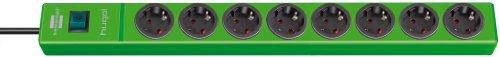 Preisvergleich Produktbild Brennenstuhl hugo! Steckdosenleiste 8-fach (mit Schalter und 2m Kabel, Gehäuse aus bruchfestem, stabilem Polycarbonat) Farbe: grün