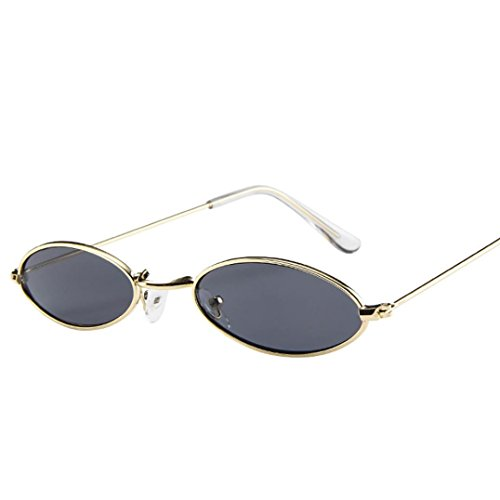 Fashion Mens Womens Retro Small Oval Sunglasses EUZeo Metal Frame Shades Mini Eyewear (E)