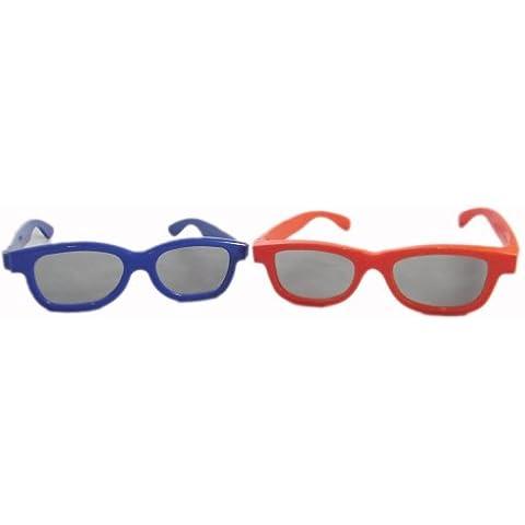 2 Pares de gafas 3D para niños 1 Azul y 1 Rojo Polorized para uso de TV y cine RealD