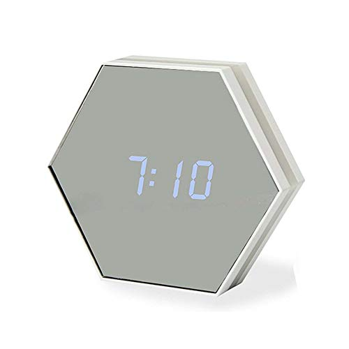ZQCZ Mirror Alarm Clock, LED Touch Adjustable Night Light USB Charging Makeup Mirror Portable Multi-Function Digital Alarm Clock,Silver