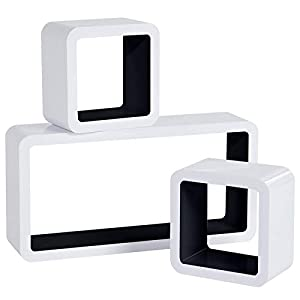 WOLTU RG9229sz Wandregal Cube Regal 3er Set Bücherregal Regalsysteme, Retro Hängeregal Würfel, weiß-Schwarz