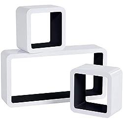 WOLTU RG9229sz Lot de 3 Étagère Murale Cube en MDF, étagère CD Livres étagère,Blanc Noir