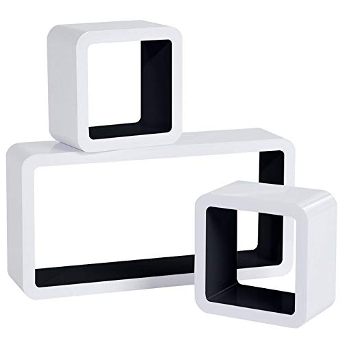 WOLTU Estantería de Pared Estantería Cubo Conjunto de 3 Estante Retro Colgantes CD Libreria Decorativo Baldas Flotante Pared Negro/Blanco RG9229sz