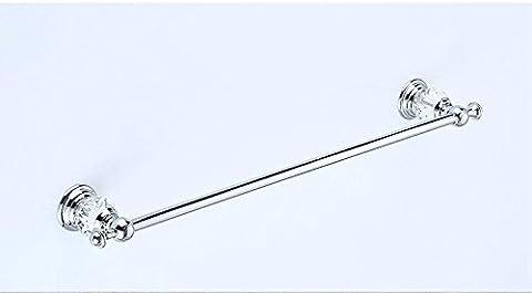 GGHYYO Porte-serviette simple Surface chromée au cuivre Installation simple de forage au cristal 60Cm