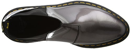 Dr. Martens Bianca, Stivali Chelsea Donna Grigio (Pewter Spectra Patent)