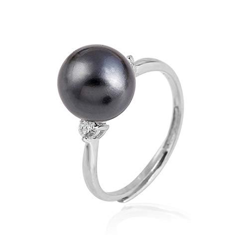 WHX DamenRingeEdelstahl,925 Sterling Silber schwarzer Perlenring weiblicher Öffnung Verstellbarer Ring Schmuck für alle Gelegenheite