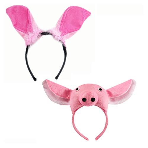 Toyvian Schwein Ohr Stirnband Party Cartoon Tier Headwear Cosplay Requisiten für Kinder 2 Stück (Ohr Stirnband Schwein)