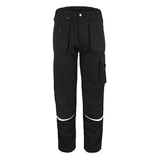 TMG® Comfort Herren Arbeitshose | Bundhose mit Kniepolster-Taschen & Reflektoren | Handwerker, Elektriker, Mechaniker | Schwarz 50