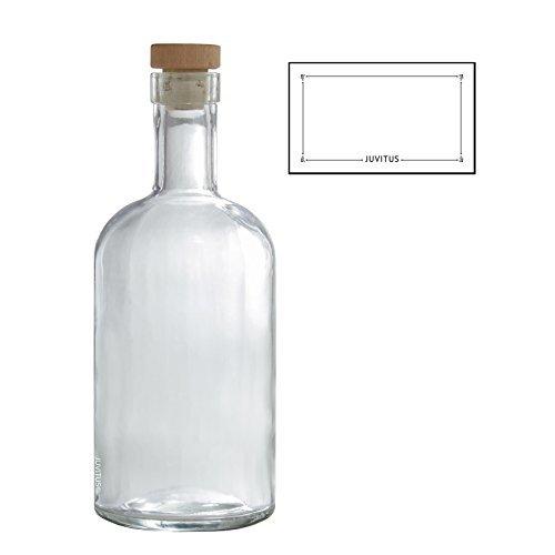 Glas-top-bar (25Oz/750ml klar schwere Dicke Wand Glas Bar TOP Flaschen W/Tight Fit Naturkork, Top + Label)