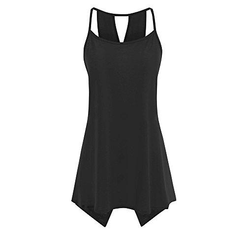 Tank Tops,Women Summer Large Size Solid Color Lanyard Back Cross T-Shirt Vest