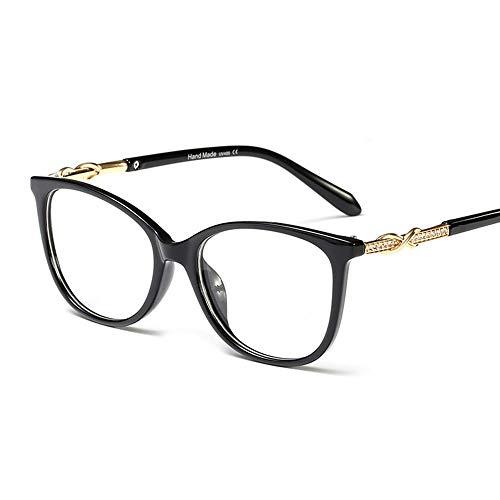Shengjuanfeng-brillen Leichte optische Brillengläser aus Strassstein, stilvolle Brillenfassungen, Tempel Accessoires (Farbe : Schwarz)
