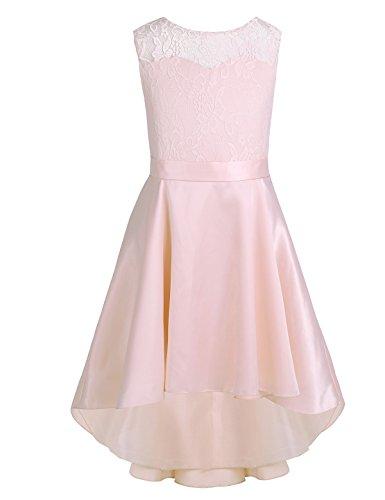 CHICTRY Kleines Mädchen Prinzessin Kostüm Blumen-Spitze Hochzeit Bankett Party Kleid fesliches Blumenmädchenkleid Gr. 104 116 128 140 152 164 Perle Rosa 152