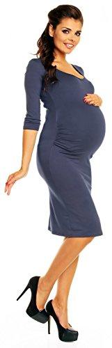Zeta Ville - Maternité robe grossesse manches 3/4 près du corps - femme - 939c Bleu Gris