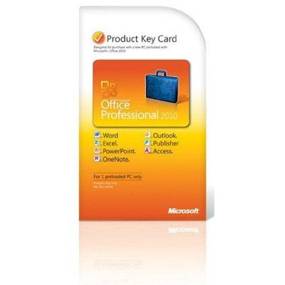 Microsoft Office Professional 2010 Product Key Card PKC 2 PC / 2 User OEM (2010 Outlook Key)