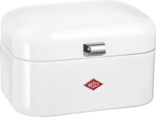 Wesco 235 101 Single Grandy Brotkasten weiß 22 x 28 x 17cm (L/B/H), Edelstahl White Bread Box