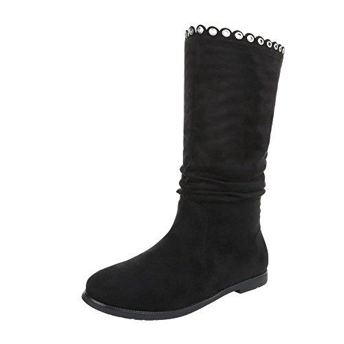 Stiefel & Boots Kinder-Schuhe Klassischer Stiefel Blockabsatz Mädchen Reißverschluss Ital-Design Stiefeletten Schwarz, Gr 34, 9320-1- (Designs 34)