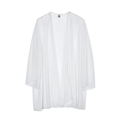 OverDose Women's Light Loose Chiffon Sheer Kimono Cardigan Blouses Tops