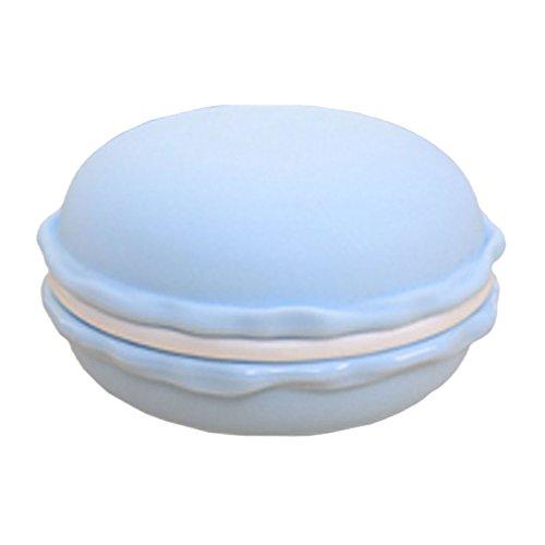 Nunubee Grand Macaron Forme de Boîte à Bijoux Coffrets Boîtes de Rangement pour Boucles d'oreilles, Anneaux, Collier, Écouteur, Tablette, Bleu