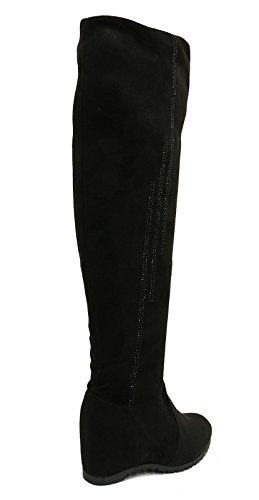Ladies Black Soft Stretch Over The Knee High Ruched Wedge Boots Shoes Sizes 3-8 3
