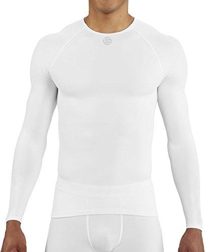 Medium Long Sleeve Top (Skins DNAmic Team Long Sleeve Herren Thermo-Training Top-Weiß, Herren, weiß, Medium)