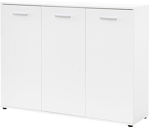 Germania Schuhschrank 3693-84 mit Platz für bis zu 32 Paar Schuhe, in Weiß, 135 x 105 x 37 cm (BxHxT)